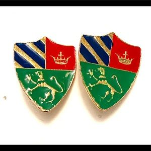 Vintage Coat of Arms Griffin Clip on Earrings